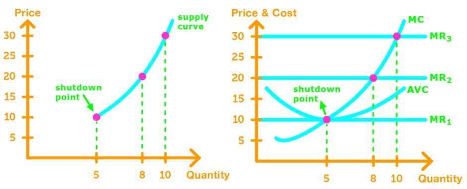 Firm's supply curve shutdown point