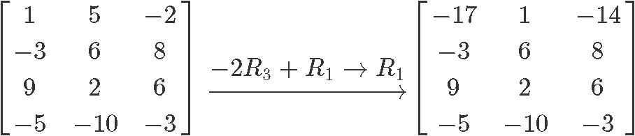 The three types of matrix row operations