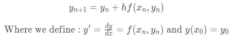 Euler's method formula