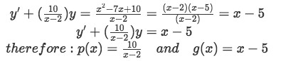 Equation for Example 2(a): Identifying functions p(x) and g(x)