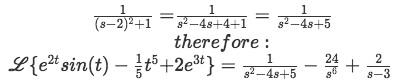 Equation for example 6(i): Final solution for the Laplace transform