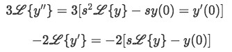 Laplace transforms for the derivatives of y