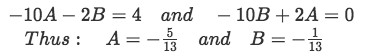 Equation for Example 1(b-4): Finding the values of the coefficients A and B
