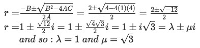 Equation for example 3(b): Solving for the complex roots and identifying lambda and mu.
