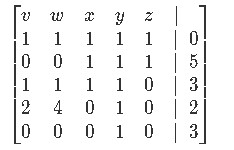 Constructing the augmented matrix from the system of linear equations