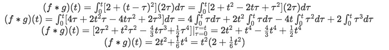 Equation for example 1(b): Solving the convolution integral