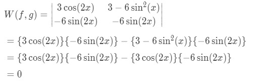 Solution for the Wronskian for the preliminary solutions shown in equation 3