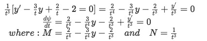 Example 2(e): Rewriting the differential equation with the value found for the integrating factor
