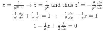 Setting z and z' and substituting them into the differential equation