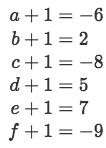 Equation 25: Set of equations for each variable to solve