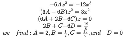 Equation for Example 2(b-4): Finding the values of the undetermined coefficients A, B, C and D