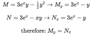 Example 3(a): Proof that the differential equation is exact