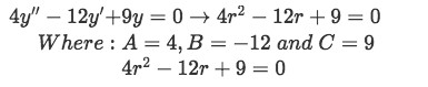 Equation for example 2(a): Characteristic equation