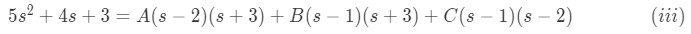 Simple algebraic equation to solve for values of A, B and C