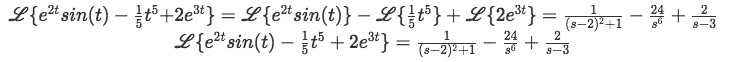 Equation for example 6(h): Complete solution to the Laplace transform