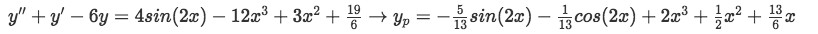 Equation 15: Particular solution of the differential equation using the superposition approach