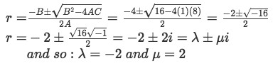 Equation for example 2(b): Solving for the complex roots and identifying lambda and mu.