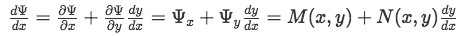 Setting the total derivative of Psi equal to the general form of an Exact Differential Equation