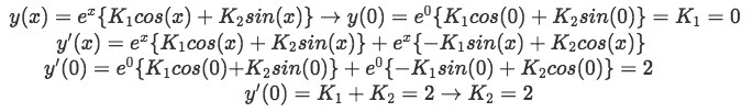 Equation for example 1(e): Finding the values for the unknown constants