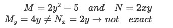 Example 3(a): identifying M and N and checking if equation is exact