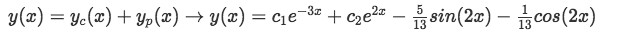 Equation for Example 1(c): General solution of the differential equation