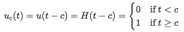 Heaviside function or unit step function