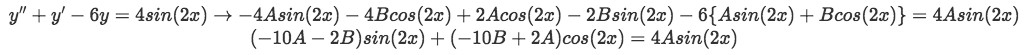 Equation for Example 1(b-2): Plugging derivative values into the original equation