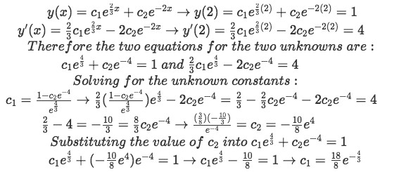 Equation for example 2(d): Applying the initial conditions and solving for the two unknown constants