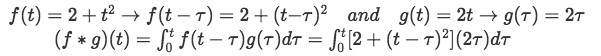 Equation for example 1(a): Putting f and g in the proper terms to produce the convolution integral