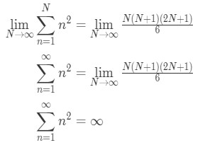 Equation 1: Power sum n^2 Divergent