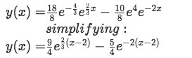 Equation for example 2(e): Particular solution to the differential equation
