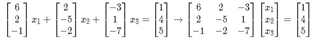 Vector equation and matrix equation in the form Ax=b from the system of linear equations