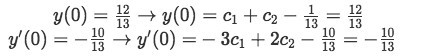 Equation for Example 1(d-1): Applying the initial conditions to y and y'