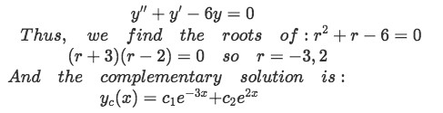 Equation for Example 1(a): Finding the complementary solution using the method of real distinct roots