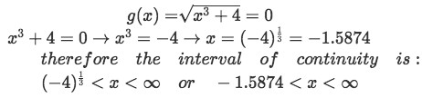 Equation for Example 3(b): Finding the interval of continuity