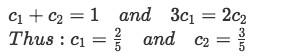 Equation for Example 1(d-2): Finding the unknown constants using the initial conditions for the problem