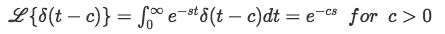 Definition of the Laplace transform of Dirac Delta function
