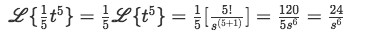 Equation for example 6(e): Solving the second Laplace transform