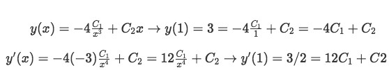 Inputting the initial conditions to find a particular solution to the differential equation