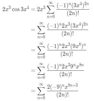 Equation 8: Taylor Series of 2x^3cos(3x^4) pt.6