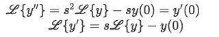 Laplace transforms of the components of the differential equation containing a Dirac Delta function