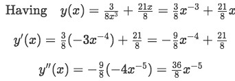 Obtaining the derivatives of the found expression of y to prove the solution to the differential equation