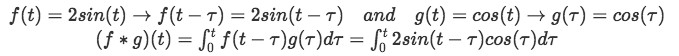 Equation for example 2(d): Convolution integral