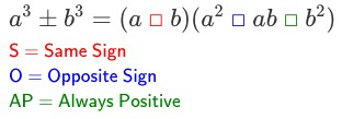 Use the SOAP mnemonic to help you track signs when factoring cubic polynomials