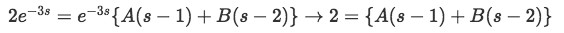 Equation 23: Equations to solve partial fraction coefficients