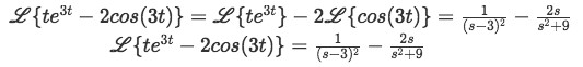 Equation for example 5(f): Complete solution to the Laplace transform