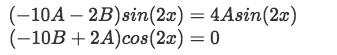 Equation for Example 1(b-3): The cosine term vanishes since there are no cosines on the right hand side