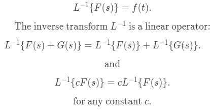 Inverse Laplace transform definition