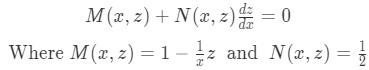 identifying M and N in the differential equation