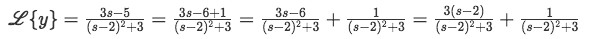 Equation for example 2(f): Rewriting the Laplace transform